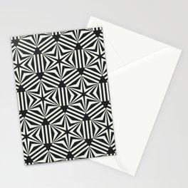 Black & white geometric stars op art Stationery Cards