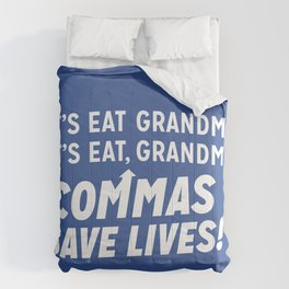 COMMAS SAVE LIVES Comforters