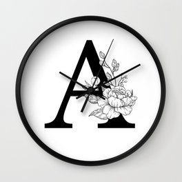 A botanical monogram. Letter initial with peonies Wall Clock
