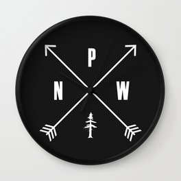 PNW Pacific Northwest Compass - White on Black Minimal Wall Clock