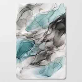 Smoky Grays and Green Abstract Flow Cutting Board
