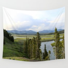 Yellowstone River Valley View Wall Tapestry