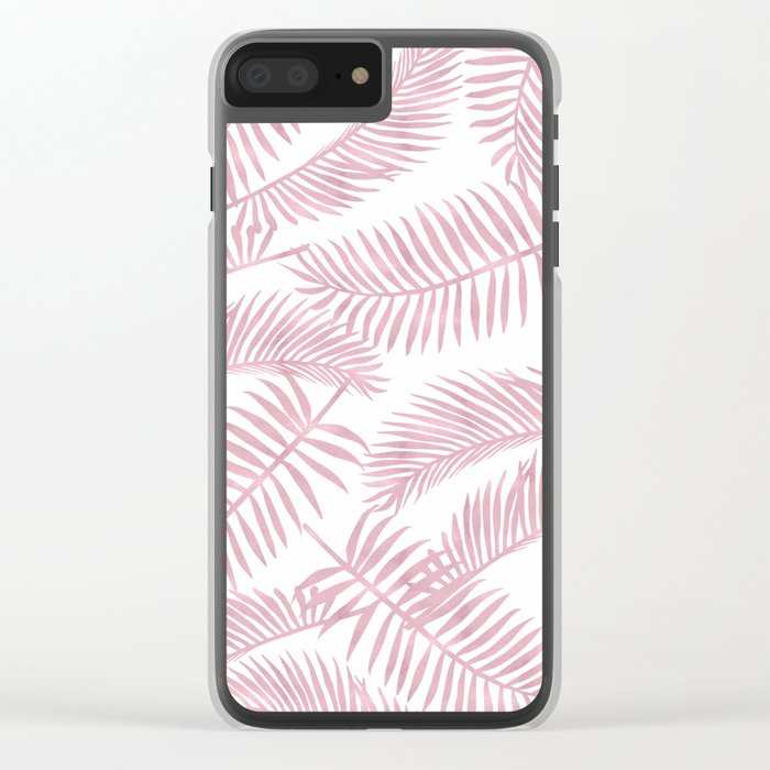 Palm Leaf Pattern Pink Clear iPhone Case