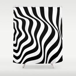 Op Art Waves B&W Shower Curtain