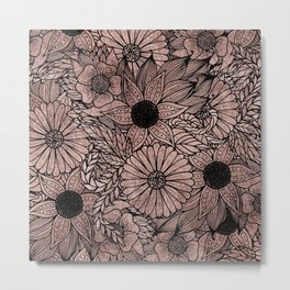 Floral Rose Gold Flowers and Leaves Drawing Black Metal Print