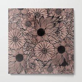Floral Rose Gold Flowers and Leaves Drawing Black Metal Print