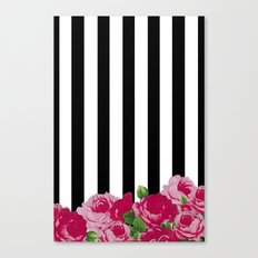 Bold Stripes with Flowers Canvas Print