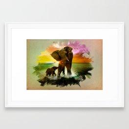 Elephant paradise Framed Art Print
