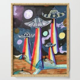 rainbow ufo Serving Tray