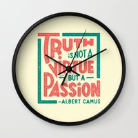 camus Wall Clocks featuring Happy 100th Birthday, Camus! by Josh LaFayette