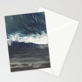 The black sand beach in Iceland. Aerial view and top view. Beautiful natural ocean photo Stationery Cards