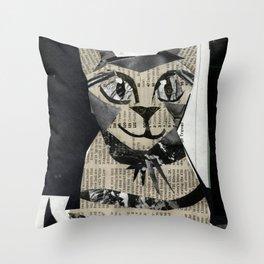 Newspaper Cat Throw Pillow