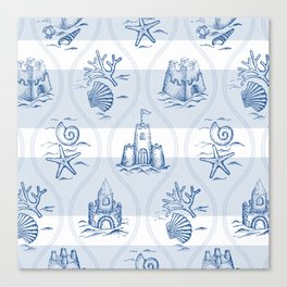 Sandcastle Nautical - Pattern Canvas Print
