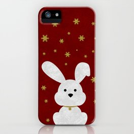 Christmas Bunny Red Marble iPhone Case