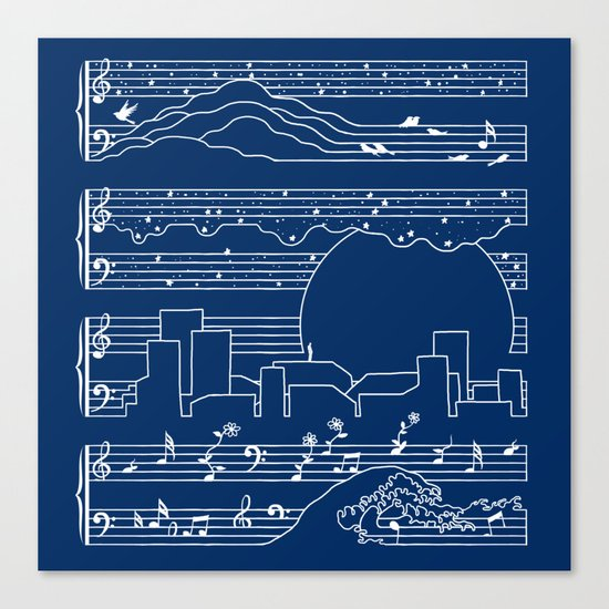 The Moonlight Sonata Blue Canvas Print