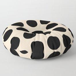 Irregular Polka Dots black and cream Floor Pillow