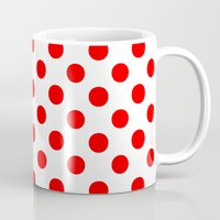 polka Mugs featuring Polka Dots (Red/White) by 10813 Apparel