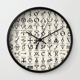 Symbols Of Alchemists Wall Clock