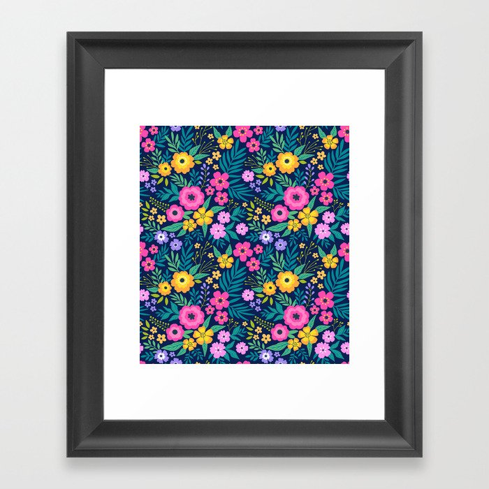 23 Amazing Floral Pattern With Bright Colorful Flowers Dark Blue Background Framed Art Print