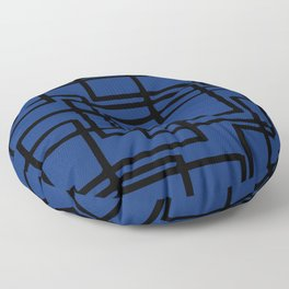 Retro Modern Black Rectangles On Deep Blue Floor Pillow
