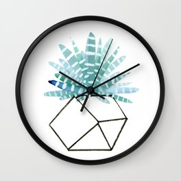 Cacti in Geometric Pot - Green Cactus and Graphic, Black Vase Wall Clock