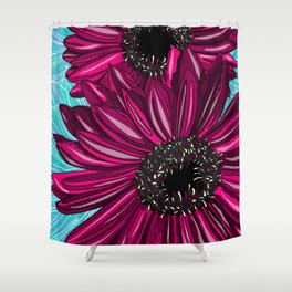 Pink Gerbera on Blue Sorbet Shower Curtain