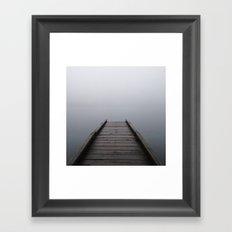 Foggy Mountain Lake Dock Framed Art Print