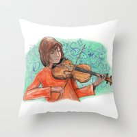 violin Throw Pillows featuring Violin by besign79