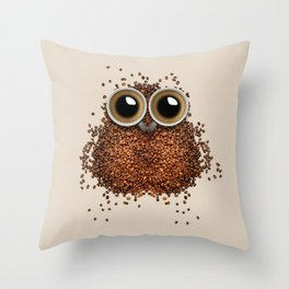 Coffee beans and cups forming owl Throw Pillow