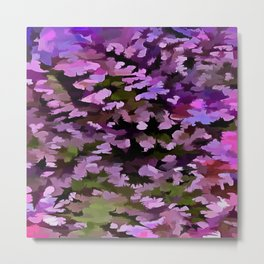 Foliage Abstract Pop Art In Ultra Violet and Purple Metal Print