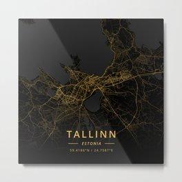 Tallinn, Estonia - Gold Metal Print