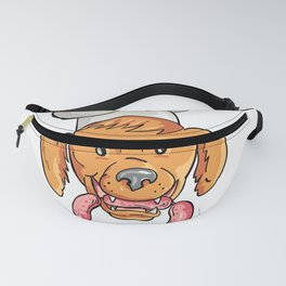 Chef Dog Biting Sausage String Cartoon Color Fanny Pack
