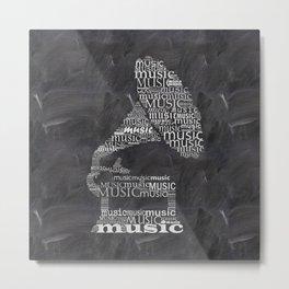 Gramophone on chalkboard Metal Print