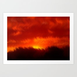 Red Sunset - Abstract Art Print