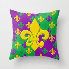 Mardi Gras Fleur-de-Lis Pattern Throw Pillow