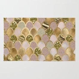 Rose gold glittering mermaid scales Rug