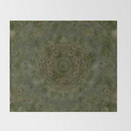 """Autumn mandala"" (Green-Grey Pattern) Throw Blanket"