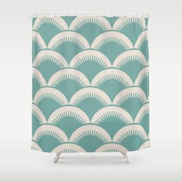 Japanese Fan Pattern Foam Green and Beige Shower Curtain