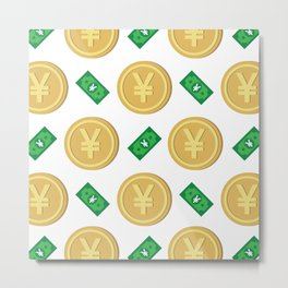 Japanese yen pattern background. Metal Print