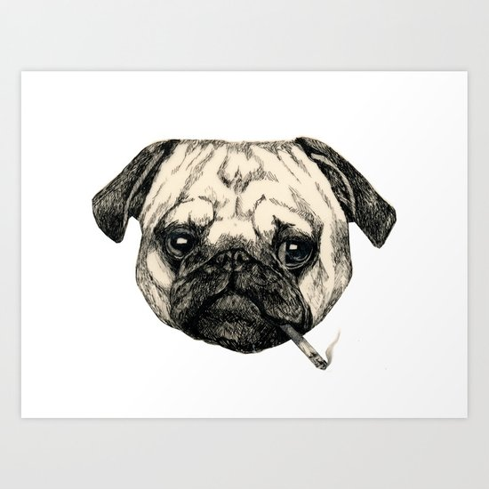 Smoking Pug Art Print
