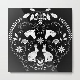 Black and white folk art  Metal Print
