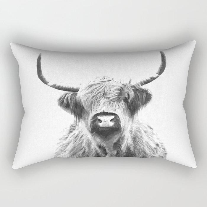 Black and White Highland Cow Portrait Rectangular Pillow