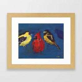 Shadow Bird (Cardinal, Goldfinches, and ?) Framed Art Print