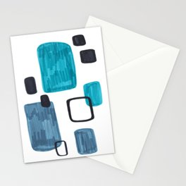 Mid Century Modern Abstract Minimalist Art Colorful Shapes Vintage Retro Style Turquoise Blue Grey Stationery Cards