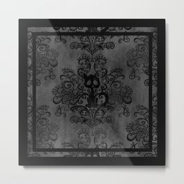 Creepy Cat Damask Metal Print