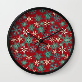 Red blue abstract Christmas decor . Snowflakes . Wall Clock