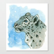 Snow Leopard & snowflakes 860 Canvas Print