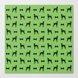 Dog and bone - Lurcher – mini green Canvas Print