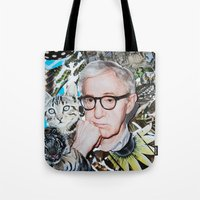woody allen Tote Bags featuring Woody Allen by John Turck