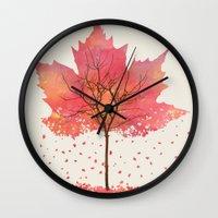 fall Wall Clocks featuring Fall by Dan Hess